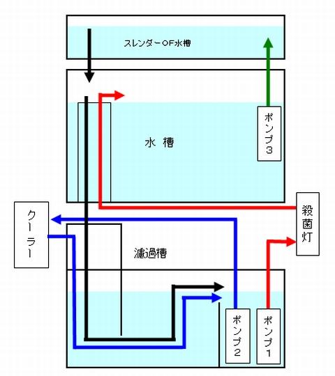 おいらの水槽の循環経路