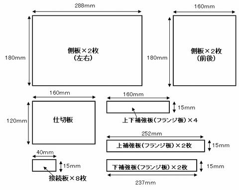 アクリル板のカット図