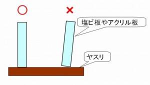 塩ビ板やアクリル板をヤスリで削るイメージ