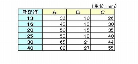 TS継手(90度エルボ)の各部の寸法
