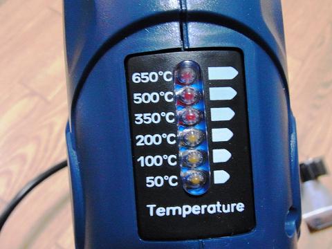 「パワーソニック ヒートガンセット HG-10S」の温度表示部分