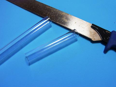 アクリル透明パイプ(13A)を10cmの長さにカット