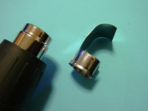 ヒートガンに「曲げ加工」用の先端ノズルをセット
