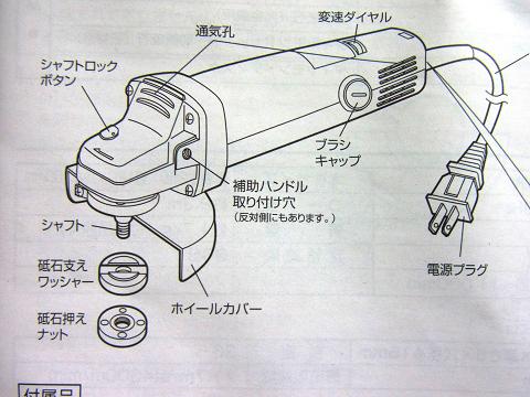 アースマン変速ディスクグラインダーの各部の名称です。