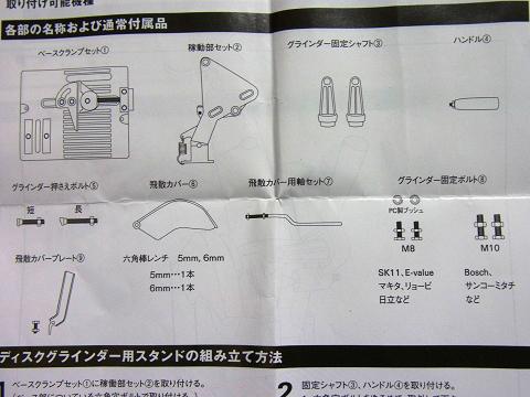 ディスクグラインダー用スタンド(SK11 藤原産業社)の各部の名称と付属品の説明です。
