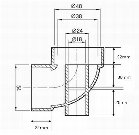 ピストル管の各部の寸法
