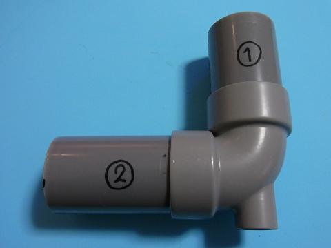 「エルボピストル」を塩ビ管用接着剤で接着