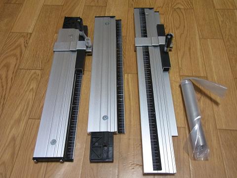 スライドソウ SS630(No.24950)に付属の「平行ガイド」、「材料スライドガイド」、「平行ガイドポスト」